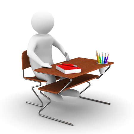 pupil sits at school desk. Isolated 3D image Stock Photo - 8810358