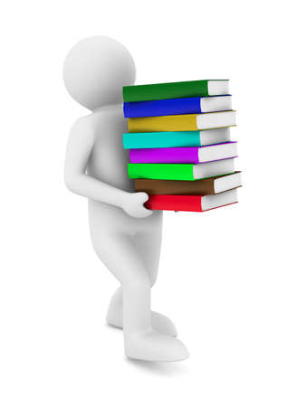 student with bale books. Isolated 3D image photo