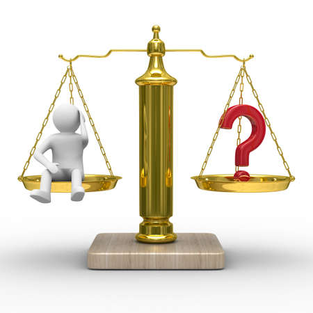 man and question on scales. Isolated 3D image photo