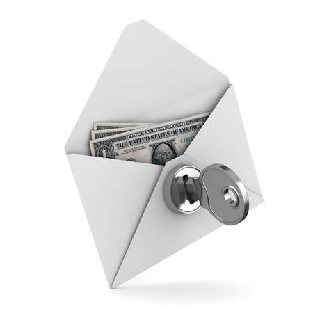 paying bills: Money in envelope on white background. Isolated 3D image Stock Photo