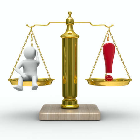 man and exclamation point on scales. Isolated 3D image photo