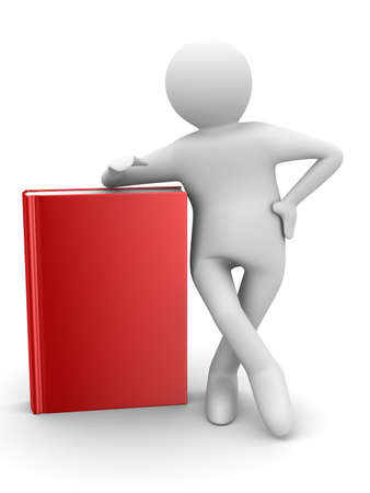 student with red books. Isolated 3D image photo