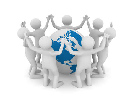 hands holding globe: Conceptual image of teamwork. Isolated 3D on white Stock Photo