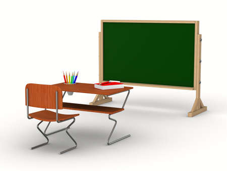 Classroom on white background. Isolated 3D image photo