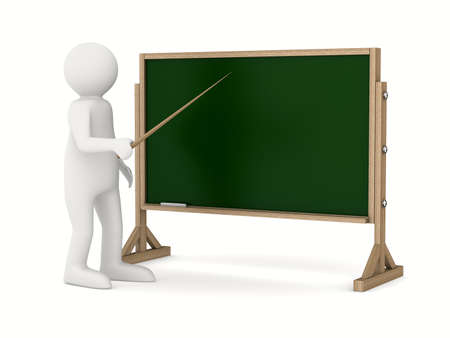 white pointer: teacher with pointer at blackboard. Isolated 3D image