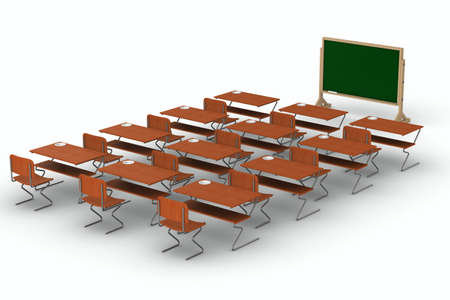 Classroom on white background. Isolated 3D image Stock Photo - 8907276