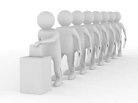 voting box: Girare per il voto su bianco. Immagine 3D isolato Archivio Fotografico