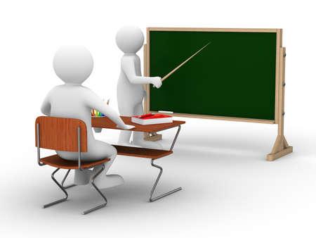 training: Lessen op school. Geïsoleerde 3D beeld op wit