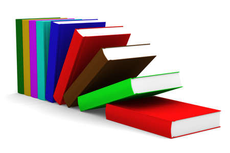closed book: Falling books. isolated 3D image on white Stock Photo
