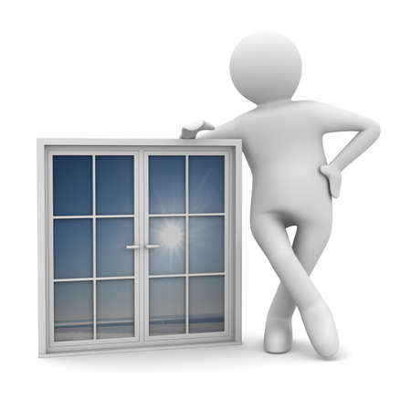 plastic window: Man with window on white background. Isolated 3D image Stock Photo