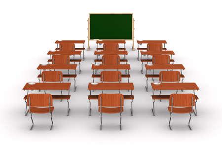 enseñanza: Aula sobre fondo blanco. Imagen aislados 3D