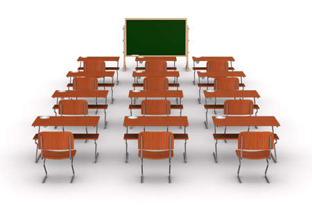 comfort classroom: Classroom on white background. Isolated 3D image