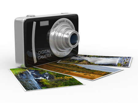 Compact digital camera on white. Isolated 3D image Stock Photo - 8993464