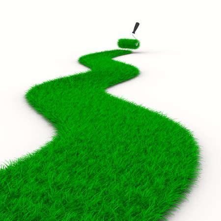 Straße von Gras auf weiß. Isolated 3D image Standard-Bild