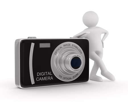 photo shoot: man with compact digital camera. Isolated 3D image Stock Photo
