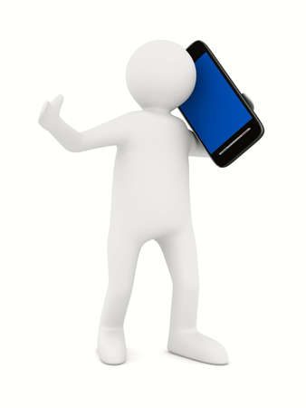 gsm phone: man with phone on white. Isolated 3D image Stock Photo