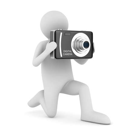 snapshot: man with compact digital camera. Isolated 3D image Stock Photo