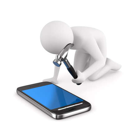 gsm phone: Man repairs phone. Isolated 3D image on white Stock Photo