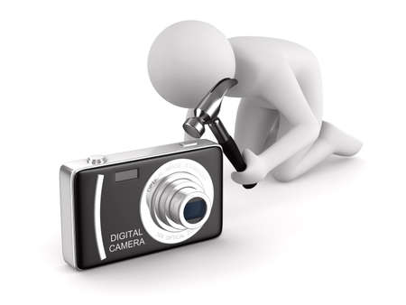 impact tool: Man repairs compact digital camera. Isolated 3D image on white