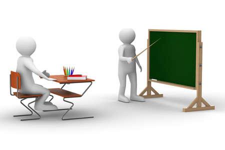Lessen op school. Geïsoleerde 3D beeld op wit Stockfoto