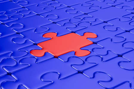 Blue puzzle and one red. Isolated 3D image Stock Photo - 9022471