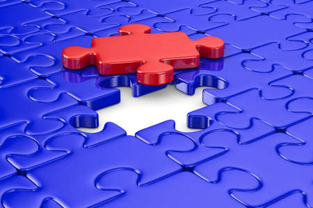 Blue puzzle and one red. Isolated 3D image Stock Photo - 9027854