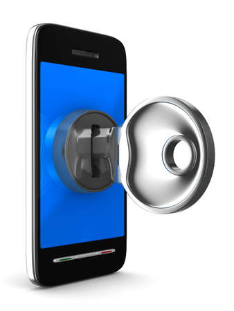 latch: phone with key on white background. Isolated 3D image
