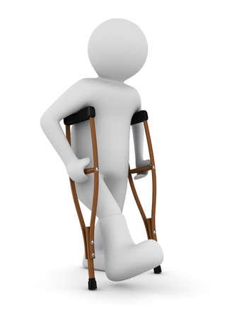 Mann auf Krücken auf weißem Hintergrund. Isolated 3D image Standard-Bild