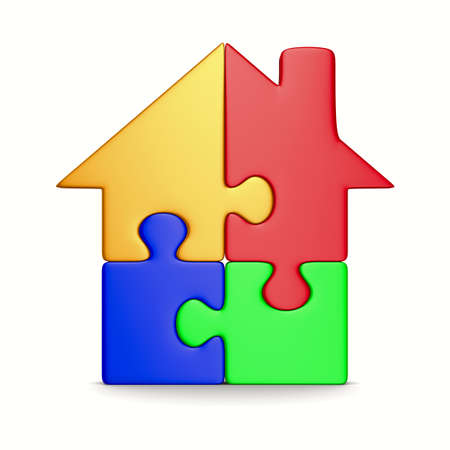 House from puzzle on white. Isolated 3D image Stock Photo - 9035634