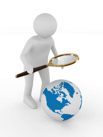 zoom earth: Man with magnifier on white background. Isolated 3D image