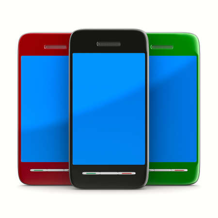 Three phone on white background. Isolated 3D image photo