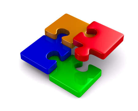 Puzzle on white background. Isolated 3D image Stock Photo - 9047210