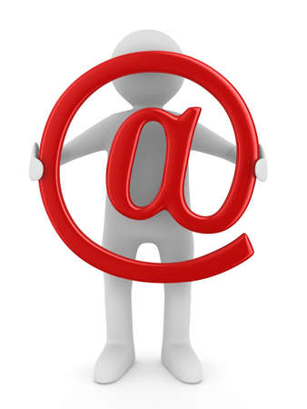email contact: E-mail concept on white background. Isolated 3D image