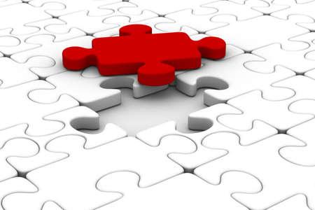 Puzzle azul y uno rojo. Imagen aislados 3D Foto de archivo - 9104280