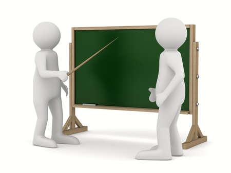 les geven: leraar met aanwijzer op blackboard. Geïsoleerde 3D-beeld Stockfoto