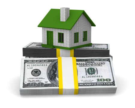 小さな家と白い背景の上の現金。分離の 3 D イメージ