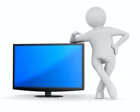 テレビと白い背景の上の男。分離の 3 D イメージ