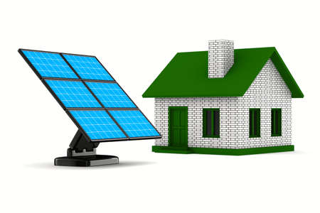 photocell: solar battery and house on white background. Isolated 3d image