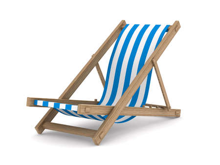 beach chairs: Deckchair on white background. Isolated 3D image