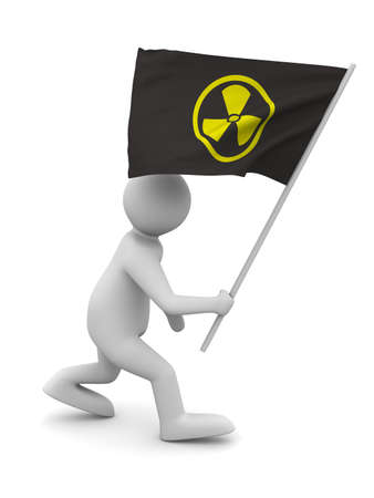 radiation symbol on flag. Isolated 3D image photo