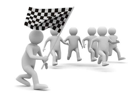 end line: hombre con bandera sobre fondo blanco. Imagen aislados 3D