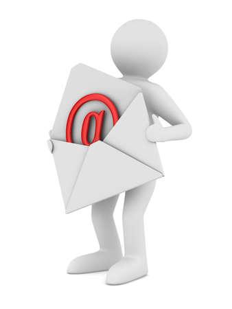 Email: Postman mit ge�ffneten Umschlag. Isolated 3D image