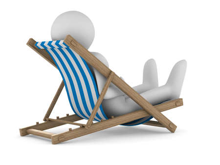 laze: Deckchair on white background. Isolated 3D image