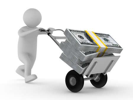gotówka: Mężczyzna wypychania wózka rÄ™cznego z dolarów. Izolowane obrazu 3D