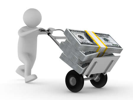 cart cash: man push hand truck with dollars. Isolated 3D image