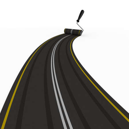 way forward: asphalted road on white. Isolated 3D image
