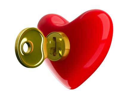 Key from heart. Isolated 3D image on white Stock Photo - 9233685