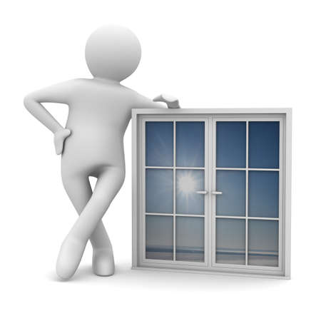 empleadas domesticas: Hombre con ventana sobre fondo blanco. Aislados imagen 3D
