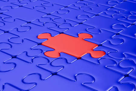 Blue puzzle and one red. Isolated 3D image Stock Photo - 9233698