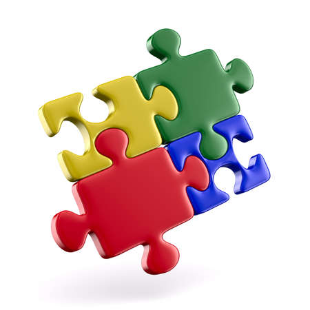 Puzzle on white background. Isolated 3D image Stock Photo - 9233687
